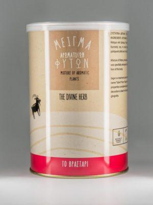 """Μείγμα αρωματικών φυτών """"Το Βραστάρι"""" από δίκταμο, τσάι του βουνού, φασκόμηλο, μέντα και ματζουράνα, σε συσκευασία 50gr."""